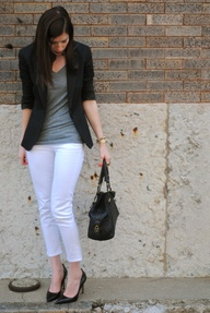 grey shirt white leggings