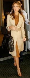 tan coat, brown skirt