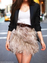 white outfit fluffy skirt